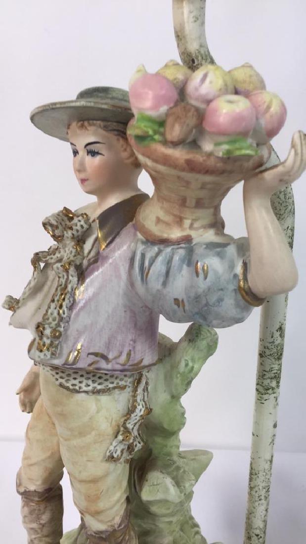 Pair Painted Porcelain Figural Lamps - 10