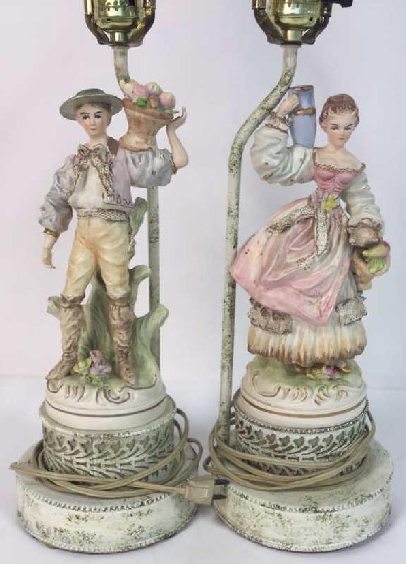 Pair Painted Porcelain Figural Lamps