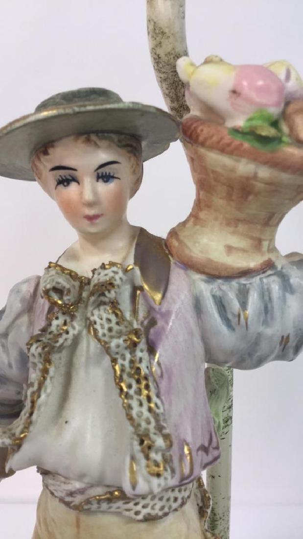 Pair Painted Porcelain Figural Lamps - 5