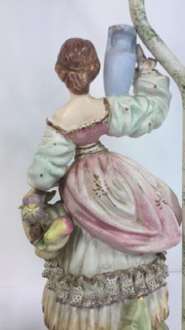 Pair Painted Porcelain Figural Lamps - 7