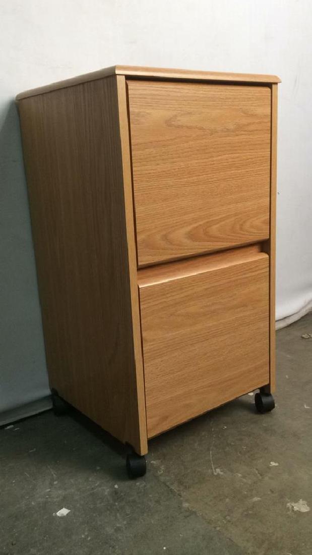 Wooden 2 Drawer File Cabinet W Wheels - 2