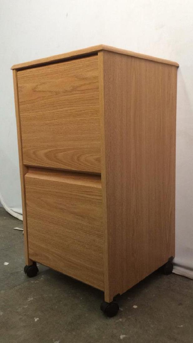 Wooden 2 Drawer File Cabinet W Wheels - 3