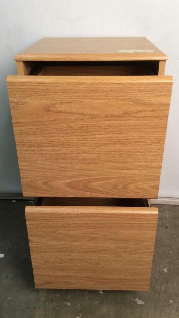 Wooden 2 Drawer File Cabinet W Wheels - 4