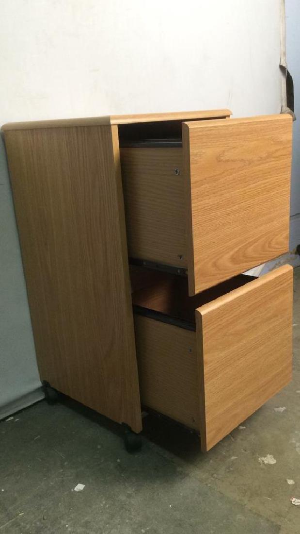 Wooden 2 Drawer File Cabinet W Wheels - 5