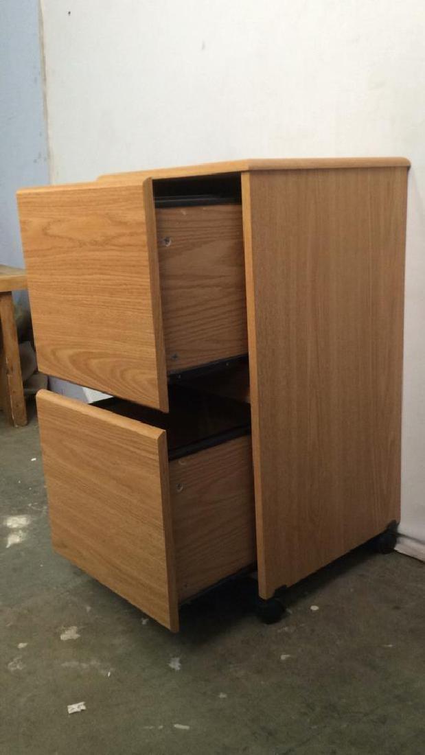 Wooden 2 Drawer File Cabinet W Wheels - 6
