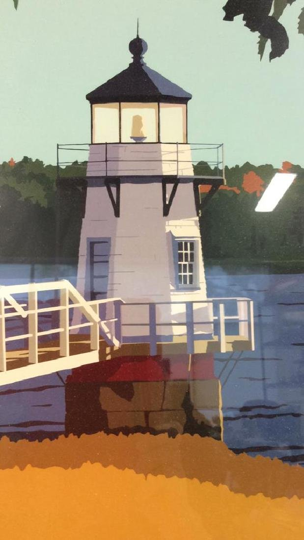 ALAN CLAUDE Pair Framed Maine Lighthouse Artwork