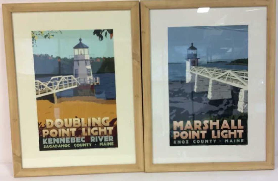ALAN CLAUDE Pair Framed Maine Lighthouse Artwork - 2