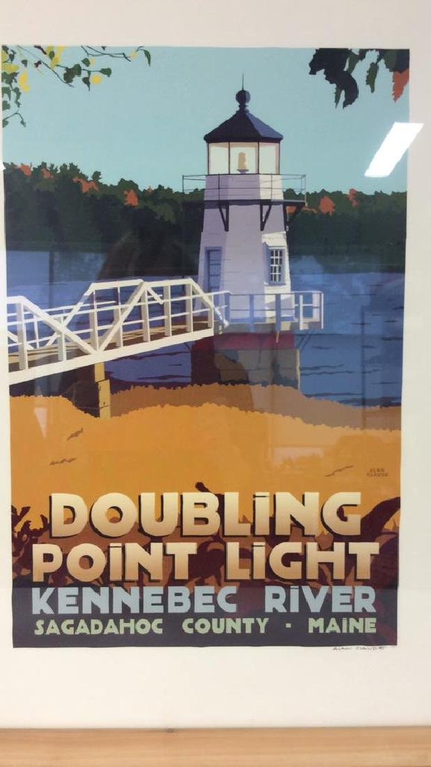 ALAN CLAUDE Pair Framed Maine Lighthouse Artwork - 4