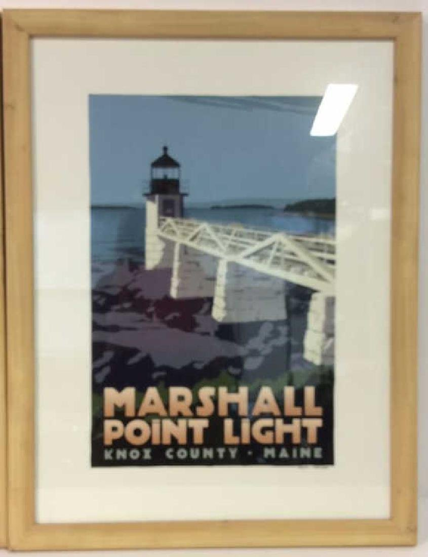 ALAN CLAUDE Pair Framed Maine Lighthouse Artwork - 6