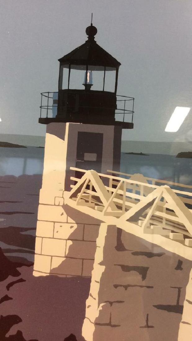 ALAN CLAUDE Pair Framed Maine Lighthouse Artwork - 9