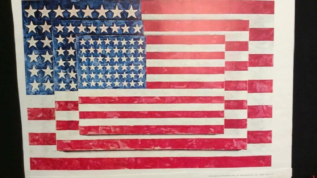 Jasper Johns Three Flags Print Whitney Museum - 4