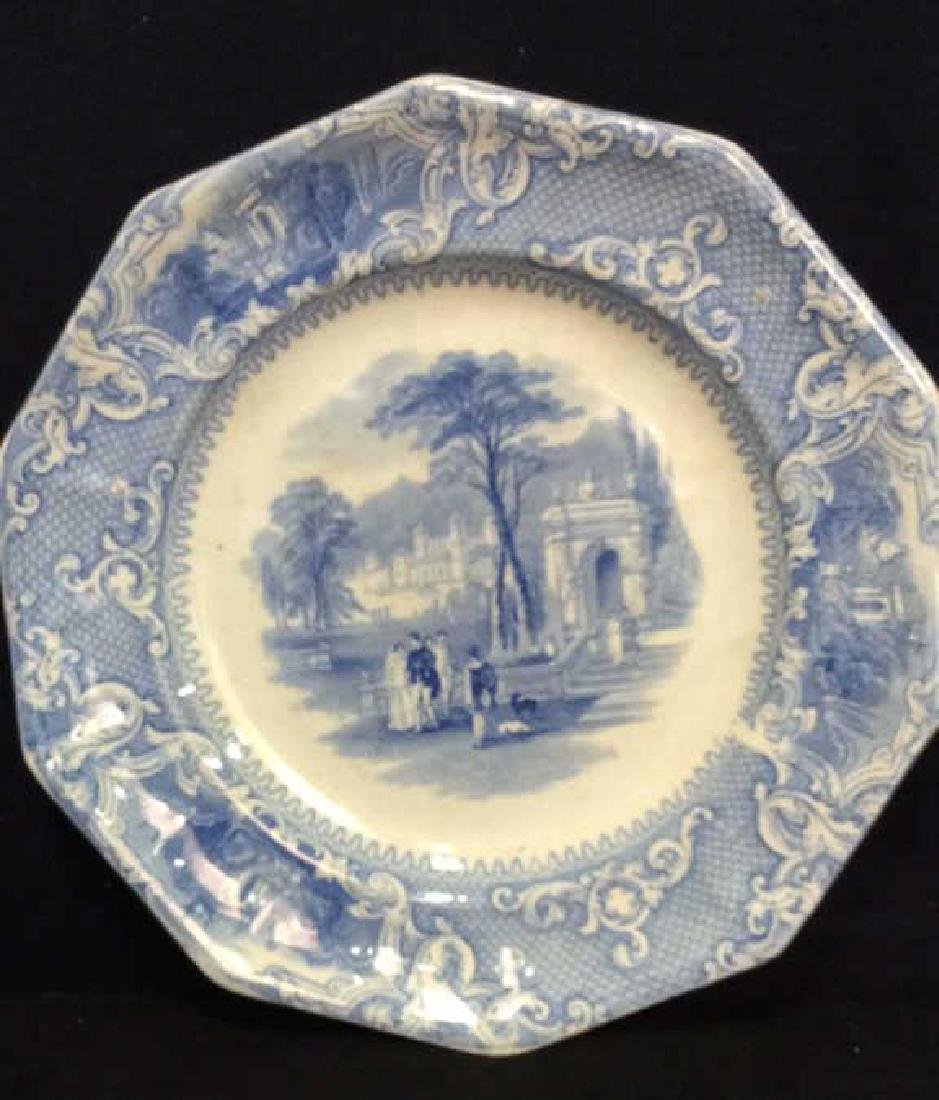 Antique English Blue White Ironstone Platter