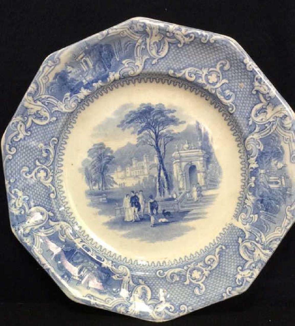Antique English Blue White Ironstone Platter - 2