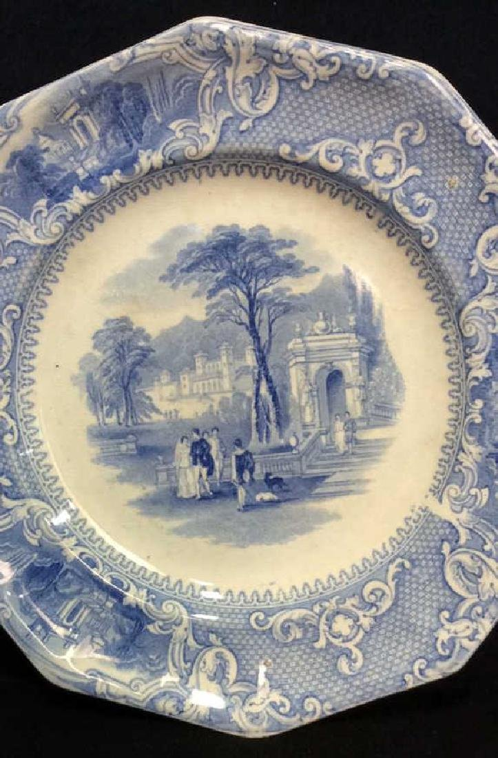 Antique English Blue White Ironstone Platter - 3