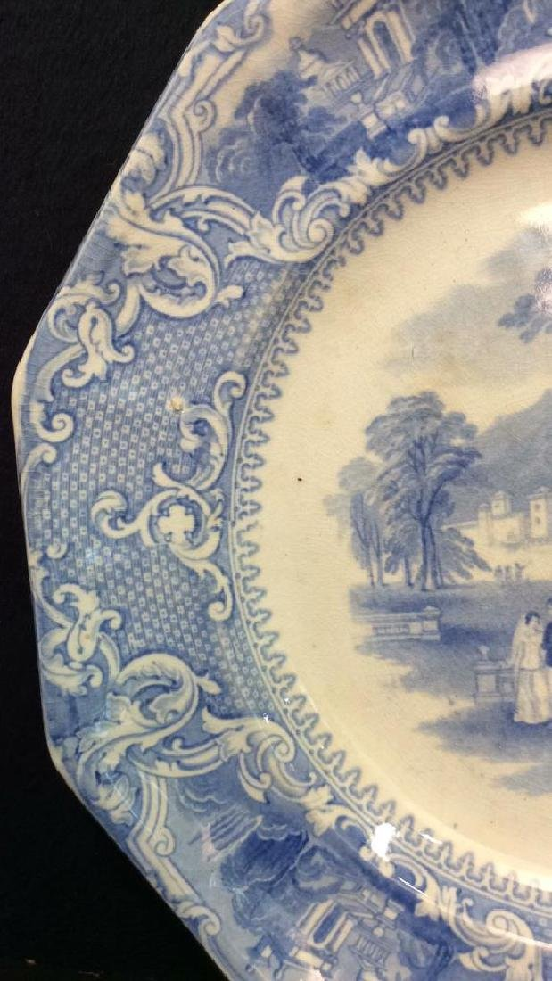 Antique English Blue White Ironstone Platter - 4