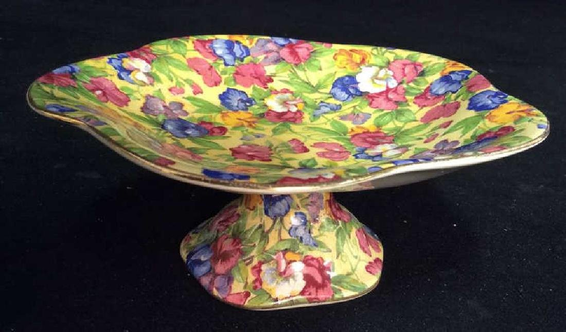Vintage English Chintz Porcelain Footed Candy Dish