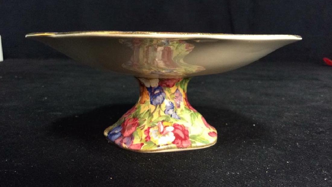 Vintage English Chintz Porcelain Footed Candy Dish - 2