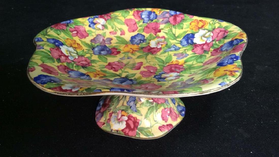 Vintage English Chintz Porcelain Footed Candy Dish - 3
