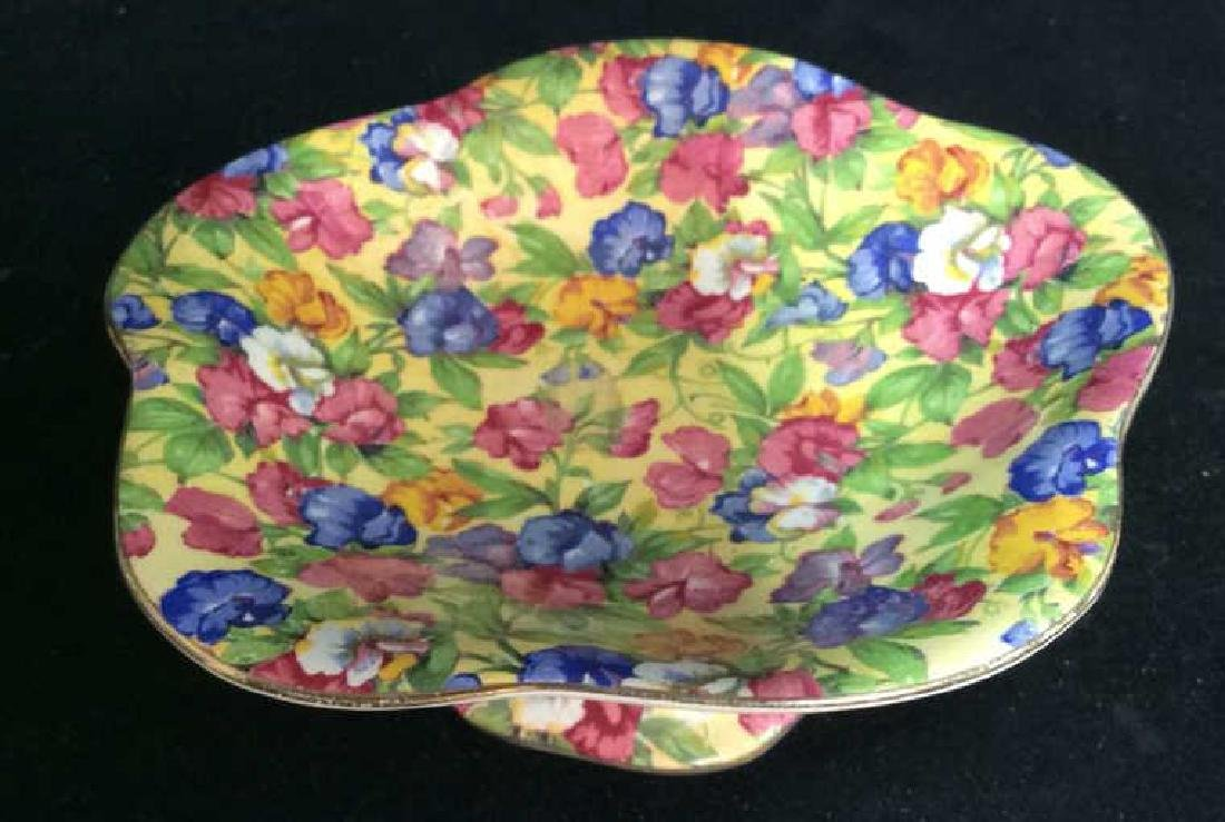 Vintage English Chintz Porcelain Footed Candy Dish - 4