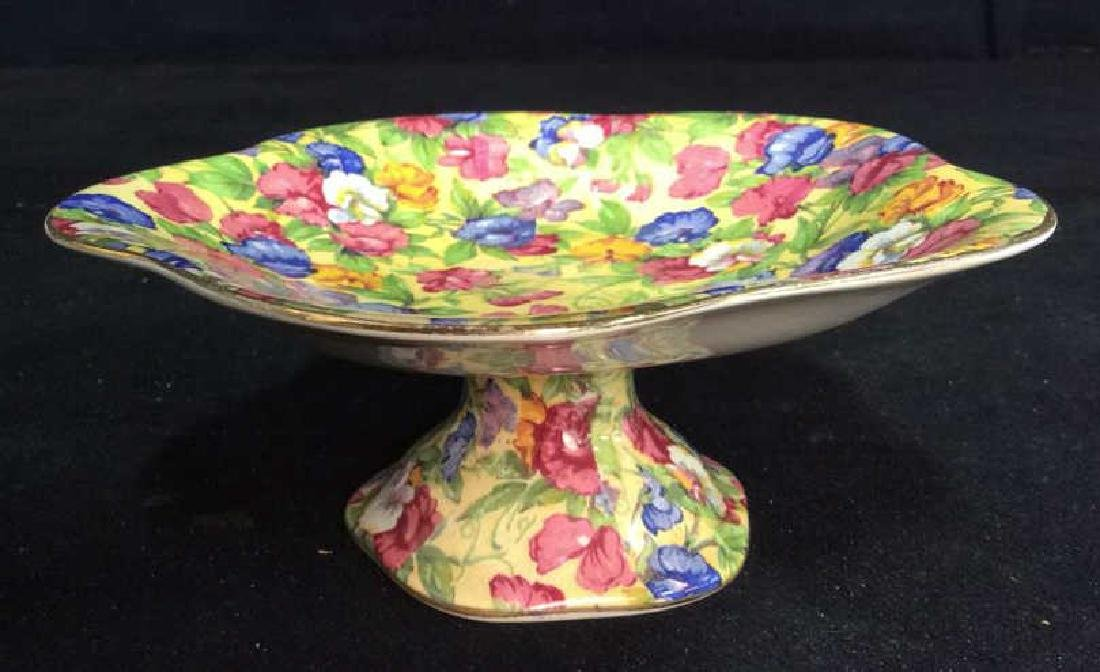 Vintage English Chintz Porcelain Footed Candy Dish - 7