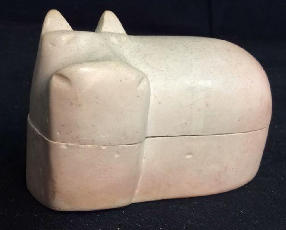 Carved Stone Hippo Trinket Box