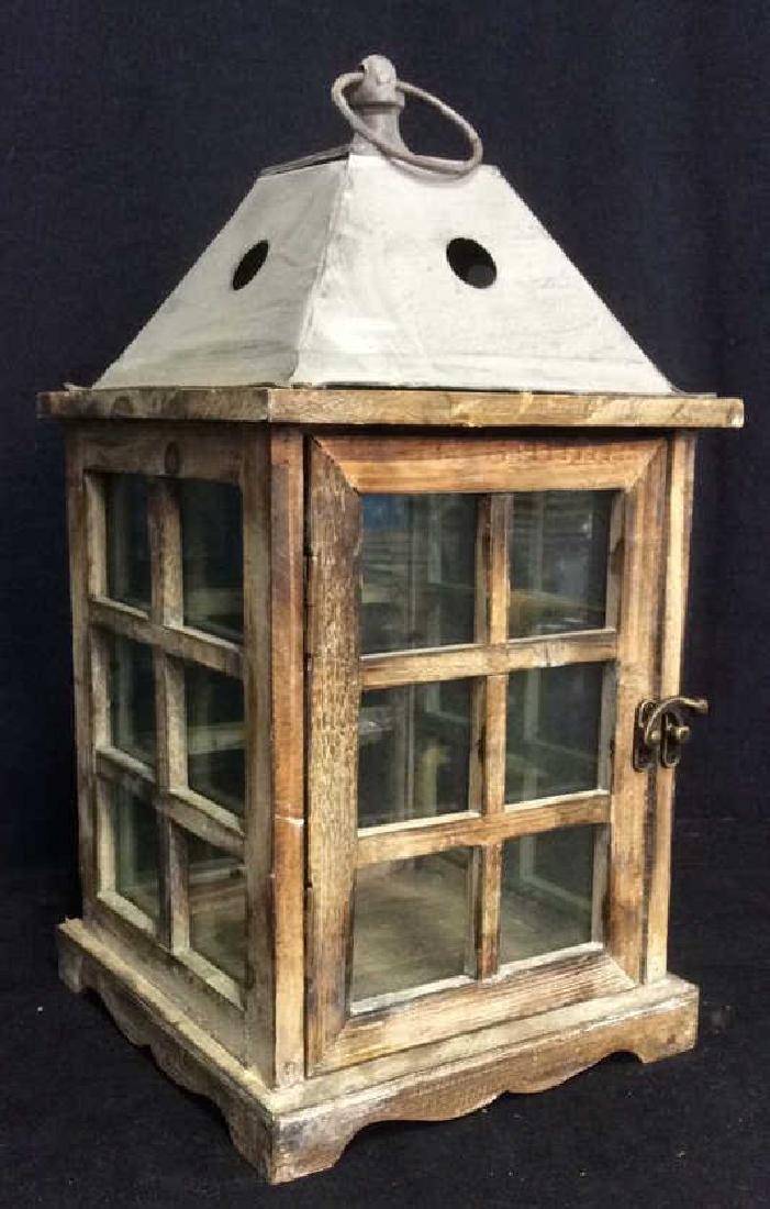 Metal Wood Glass Lantern Candle Housing
