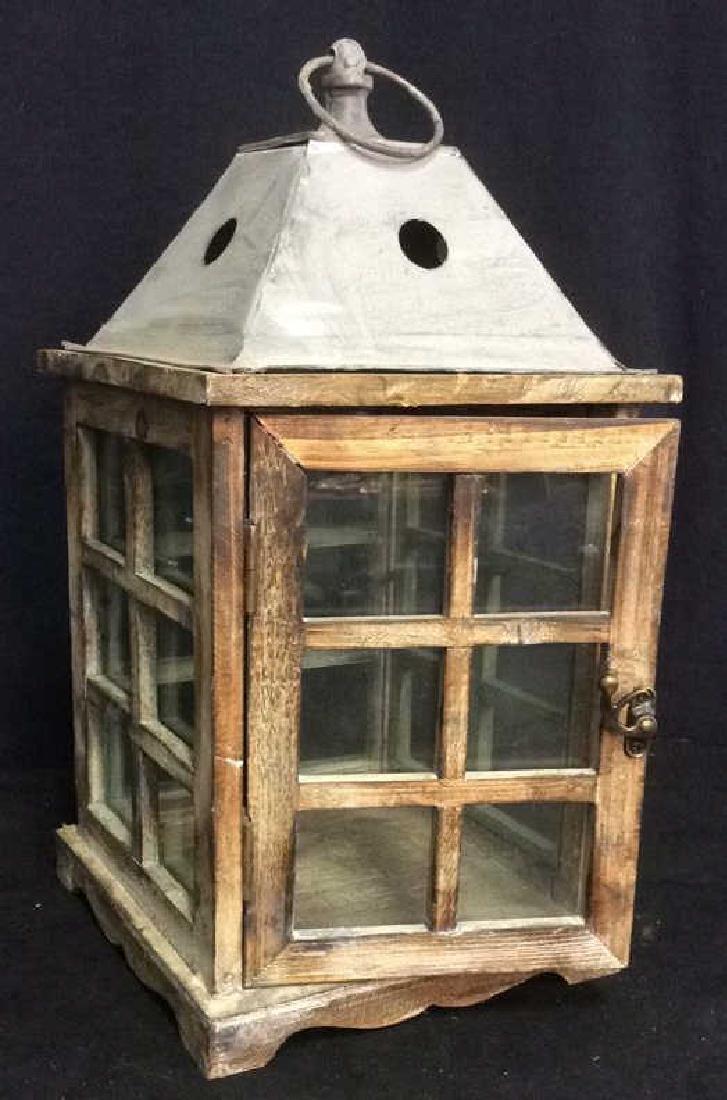Metal Wood Glass Lantern Candle Housing - 2