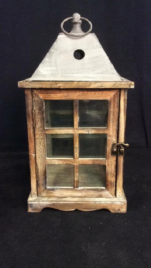 Metal Wood Glass Lantern Candle Housing - 3