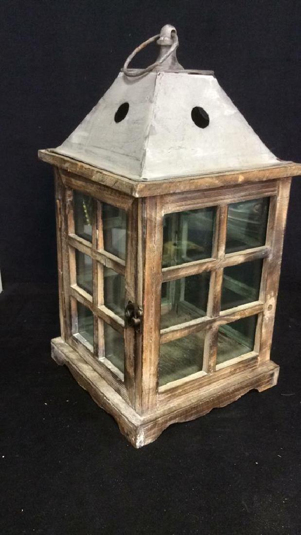 Metal Wood Glass Lantern Candle Housing - 4