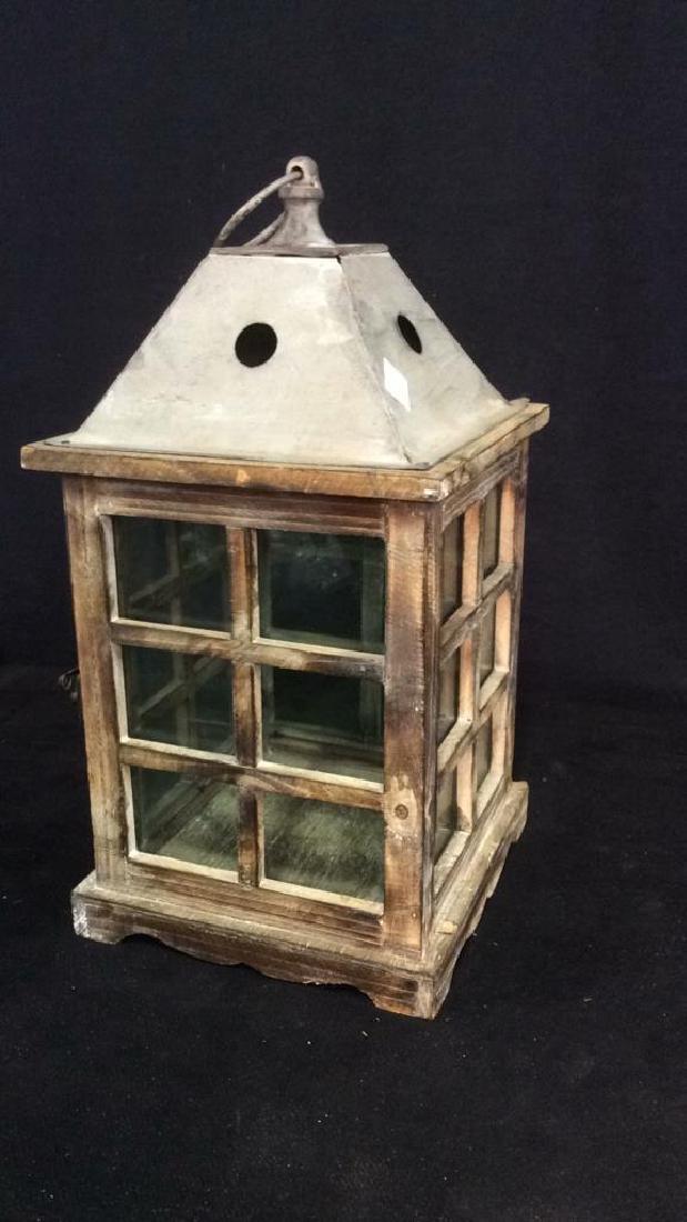 Metal Wood Glass Lantern Candle Housing - 5