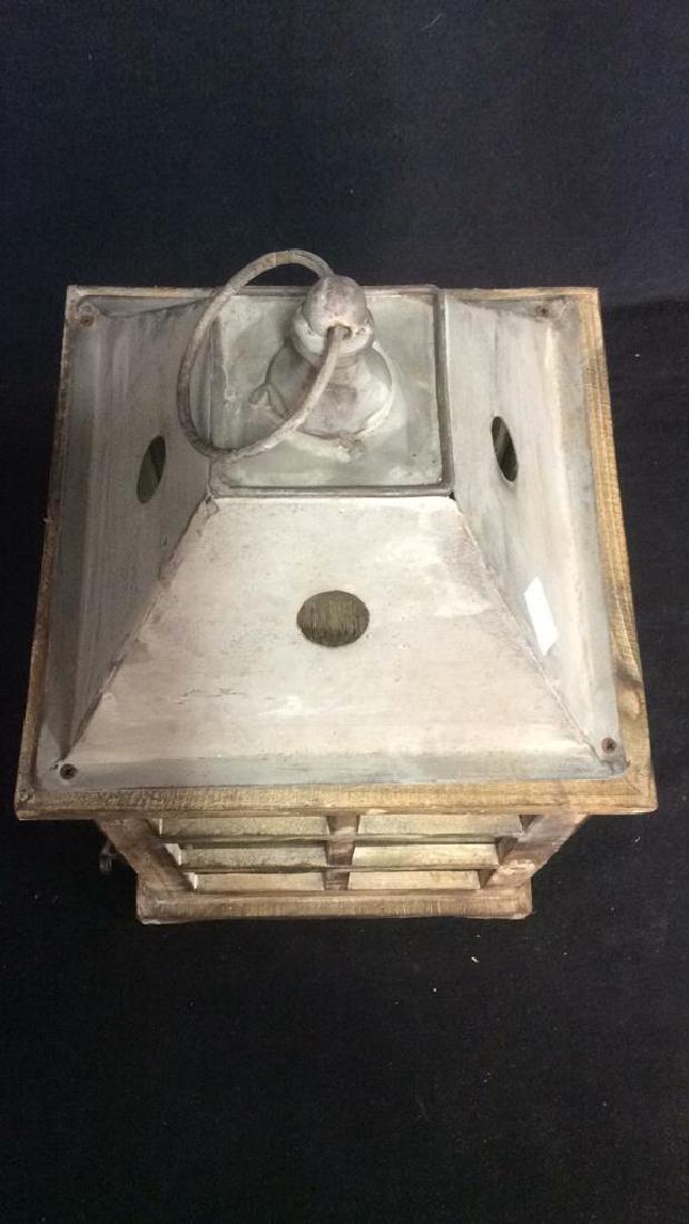 Metal Wood Glass Lantern Candle Housing - 6