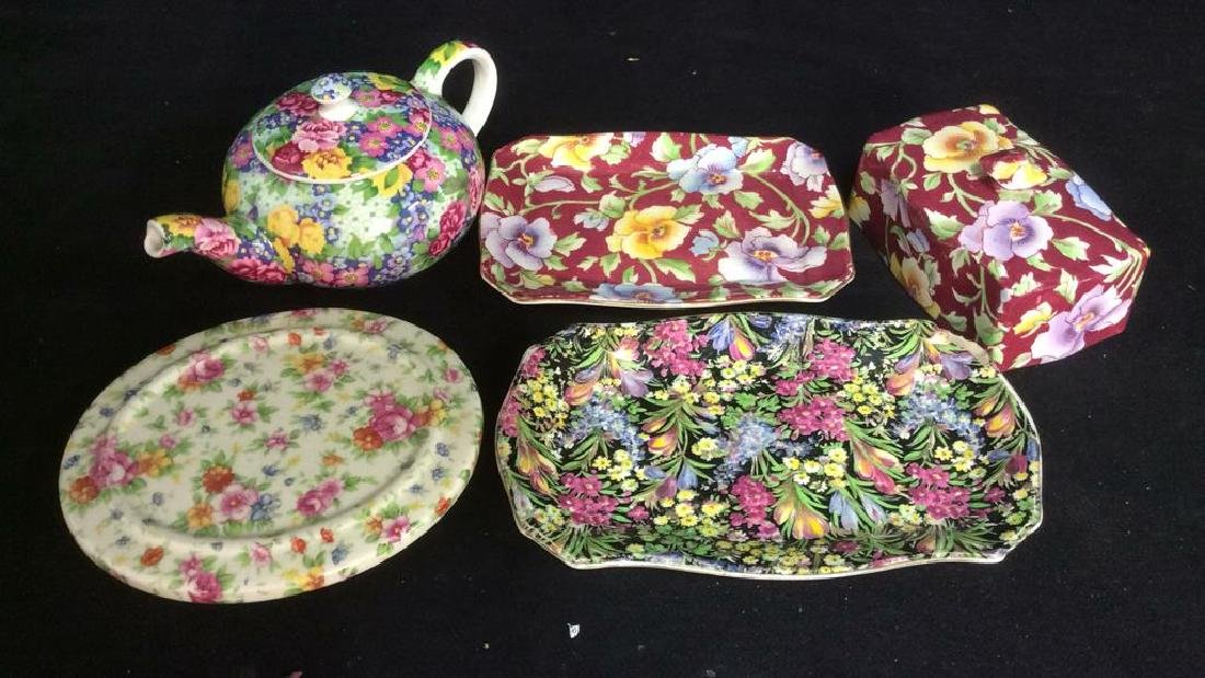 Group English Chintz Porcelain Tabletop