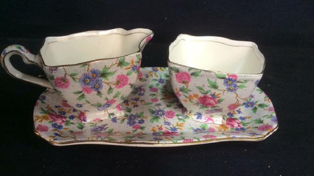 Vintage English Chintz Porcelain Sugar Creamer - 2