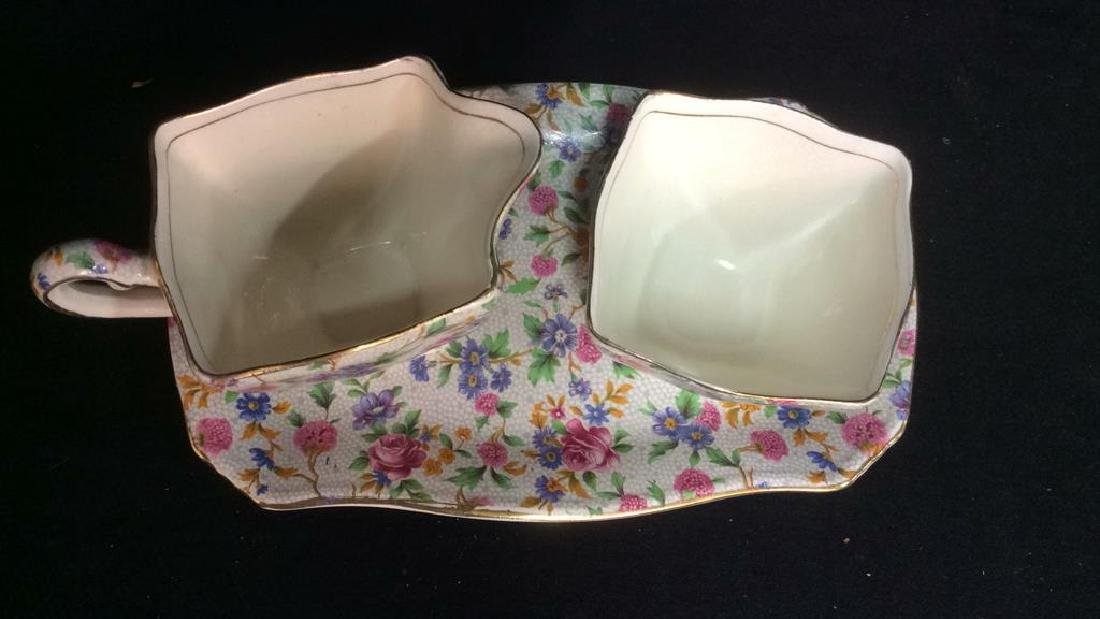 Vintage English Chintz Porcelain Sugar Creamer - 3