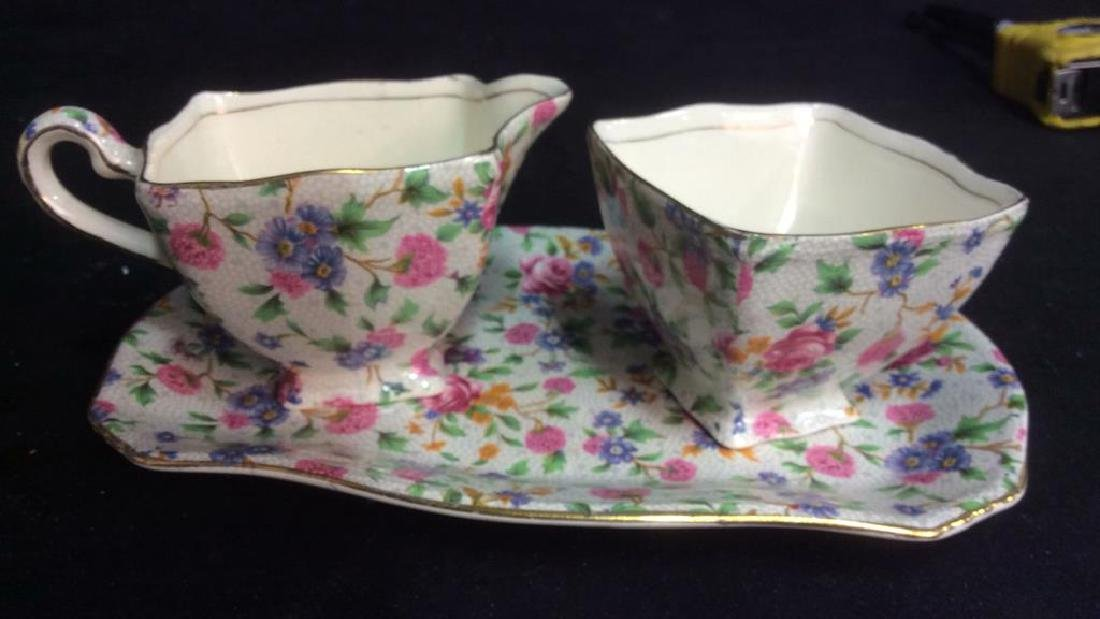 Vintage English Chintz Porcelain Sugar Creamer - 9