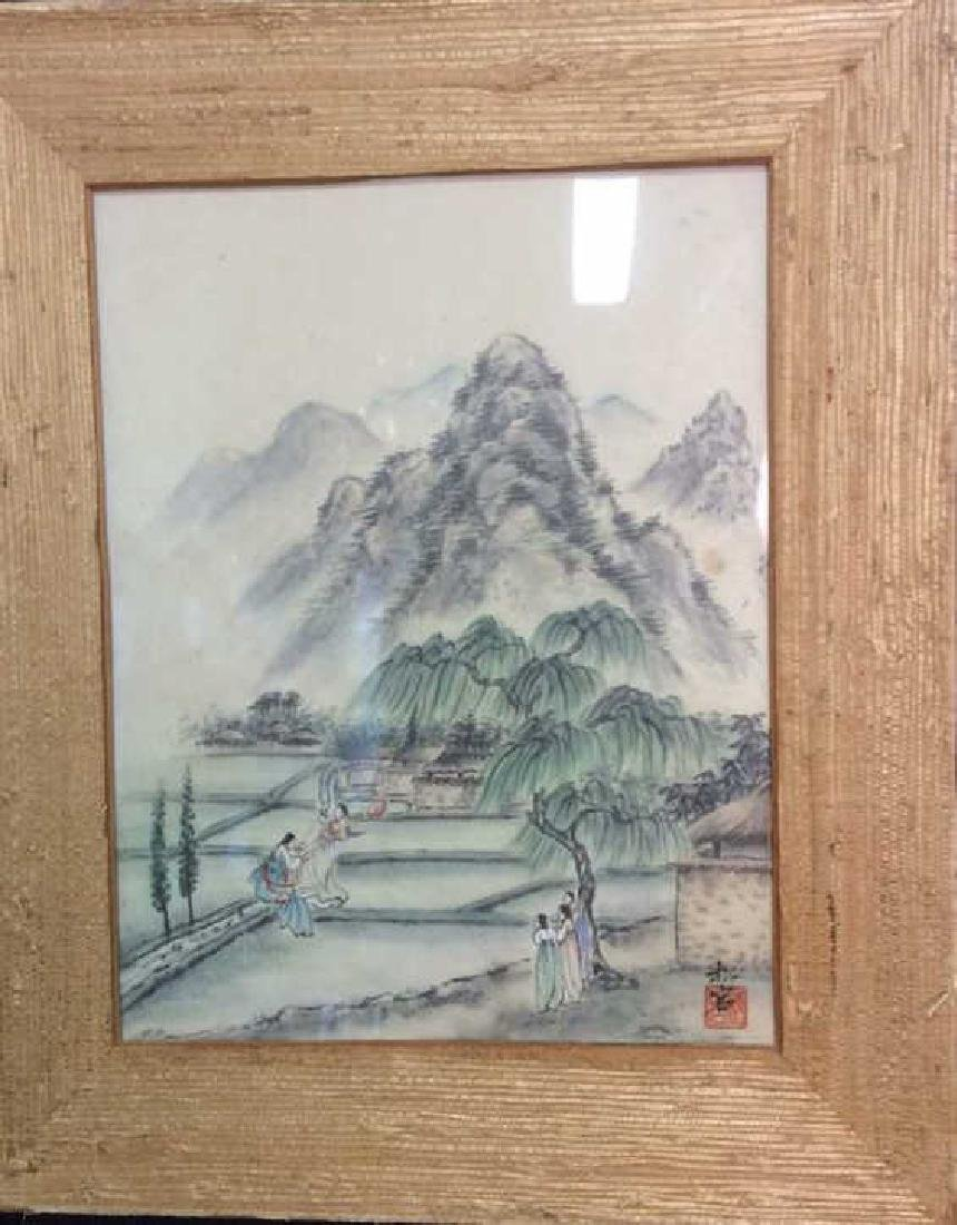 Textured Grass Framed Asian Signed Watercolor - 2