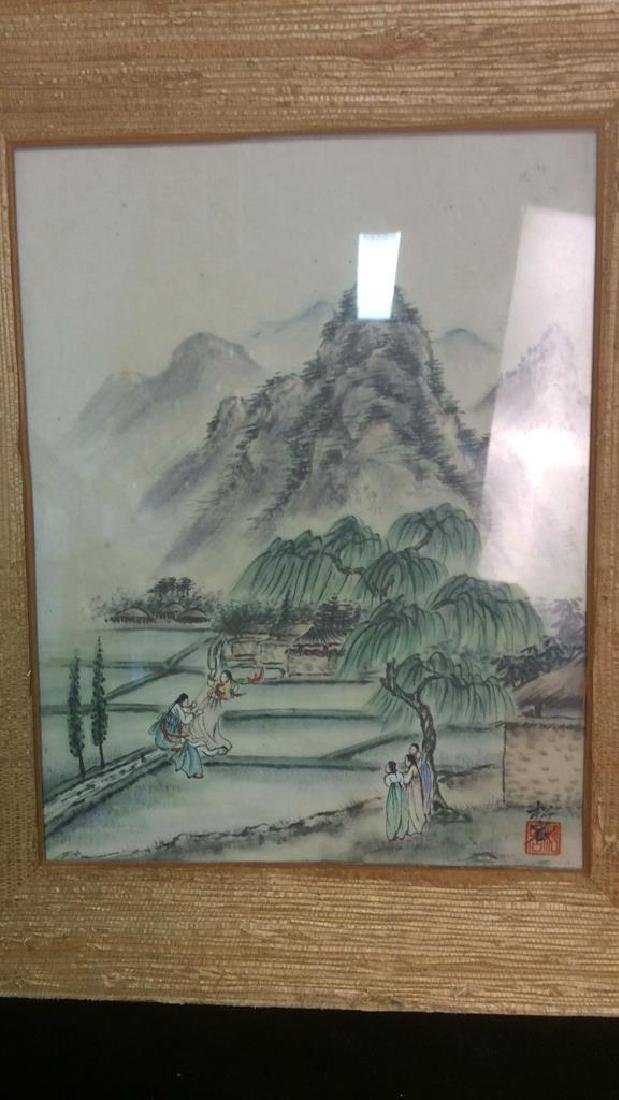 Textured Grass Framed Asian Signed Watercolor - 3