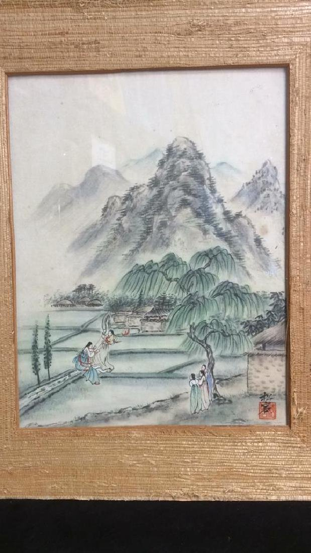 Textured Grass Framed Asian Signed Watercolor - 7