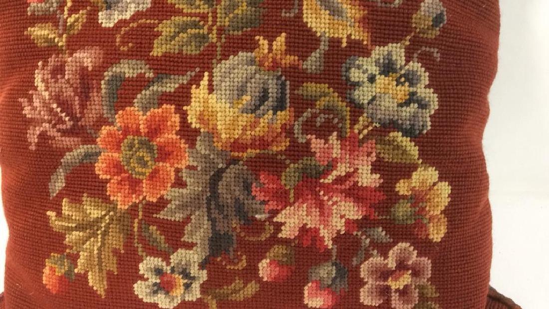 3 Needlepoint Floral Throw Pillows