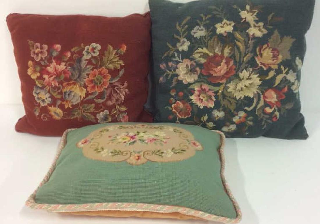 3 Needlepoint Floral Throw Pillows - 2