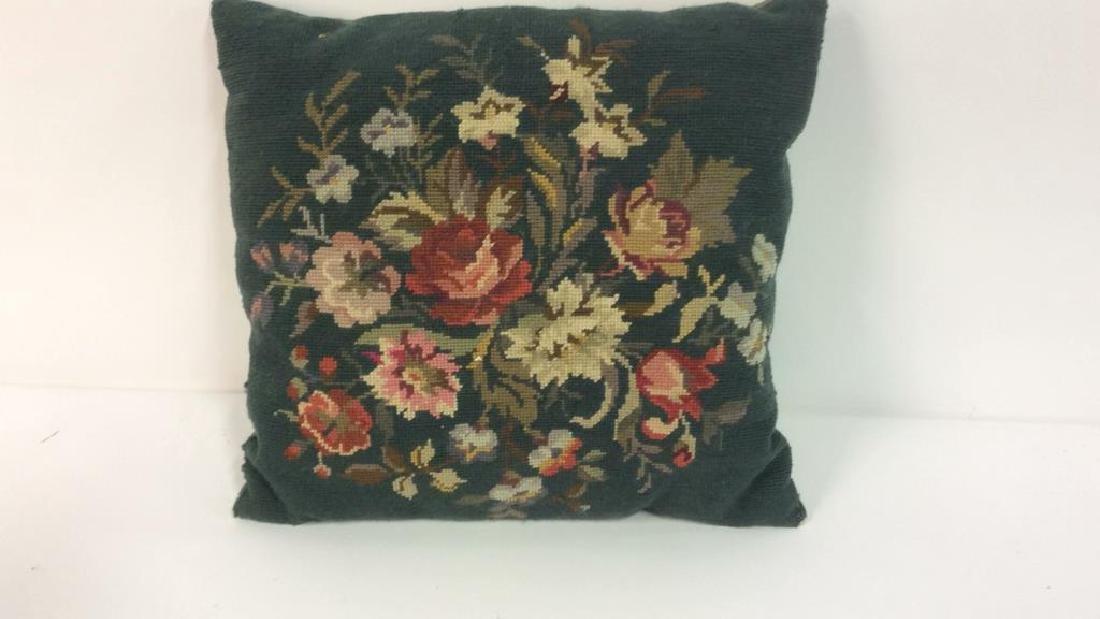 3 Needlepoint Floral Throw Pillows - 3