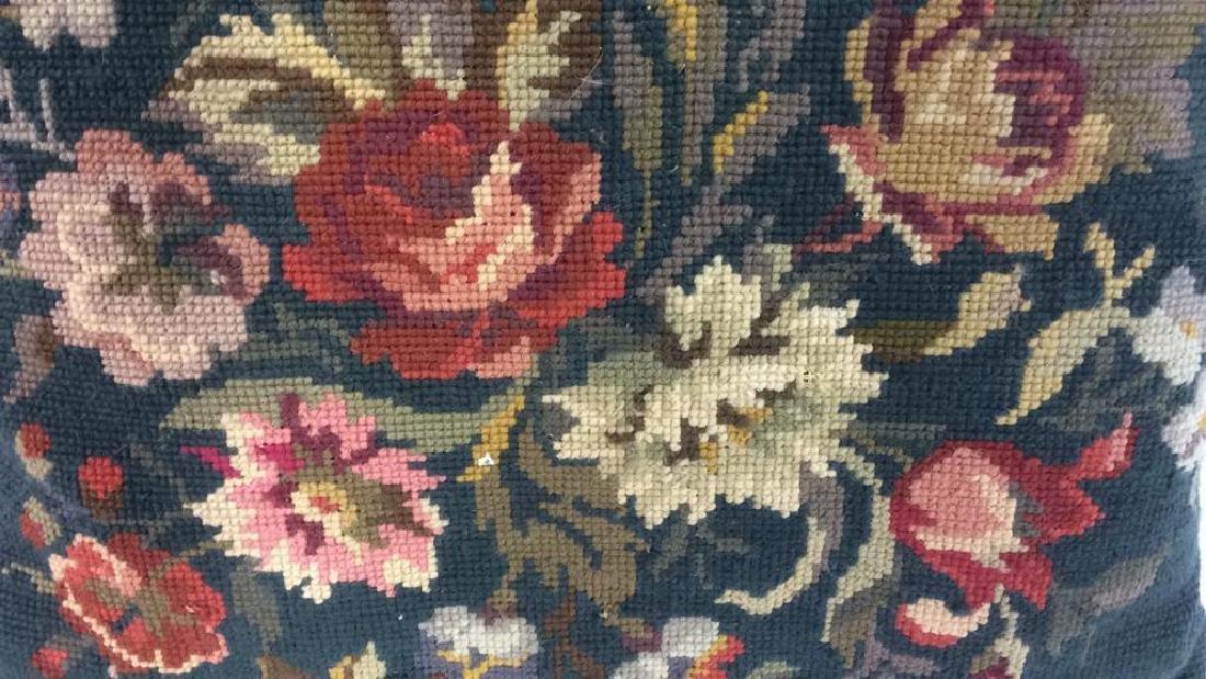 3 Needlepoint Floral Throw Pillows - 4