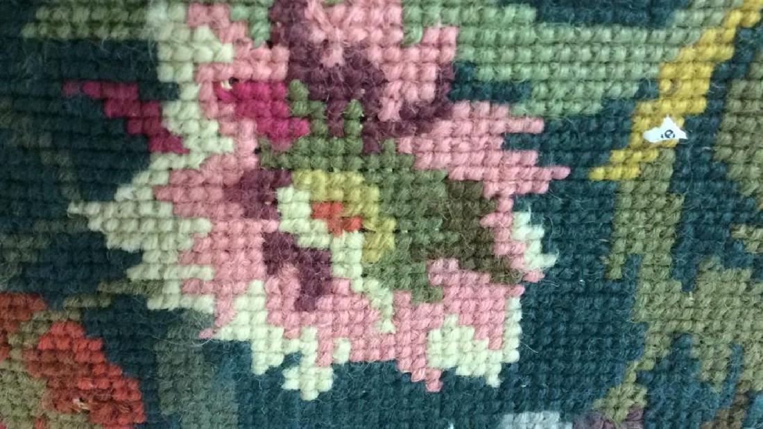 3 Needlepoint Floral Throw Pillows - 5
