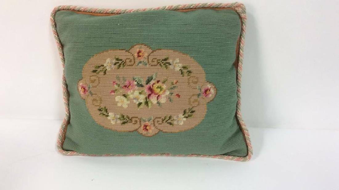 3 Needlepoint Floral Throw Pillows - 6