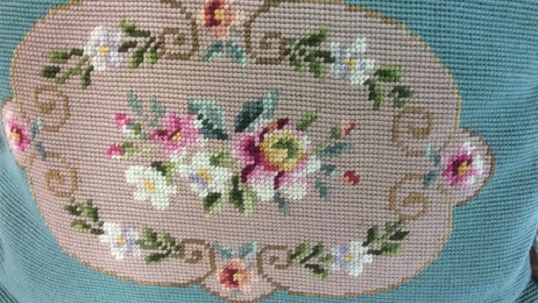 3 Needlepoint Floral Throw Pillows - 7