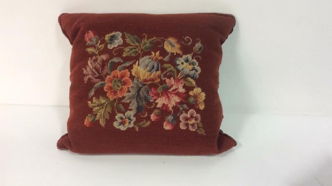 3 Needlepoint Floral Throw Pillows - 8