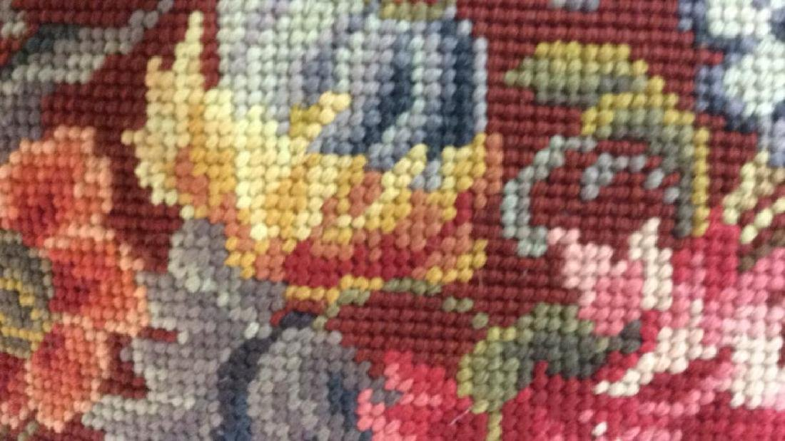 3 Needlepoint Floral Throw Pillows - 9