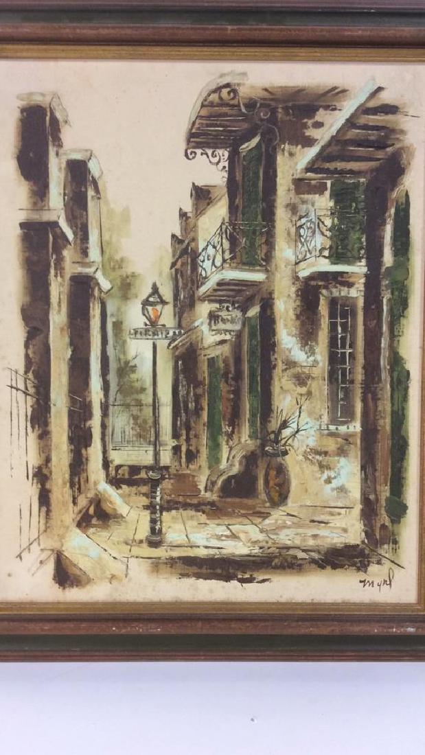 Vintage Signed Street Scene Painting - 3