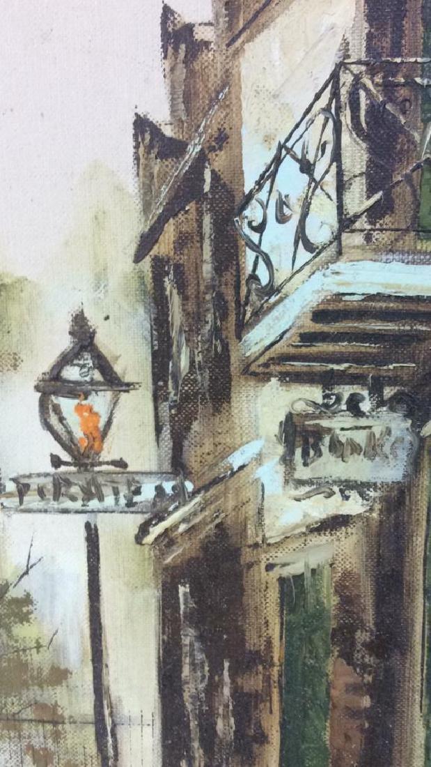Vintage Signed Street Scene Painting - 6