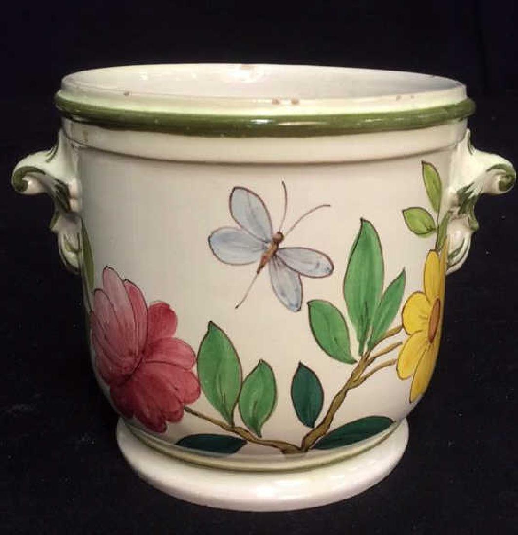 Italian Hand Painted Ceramic Cache Pot